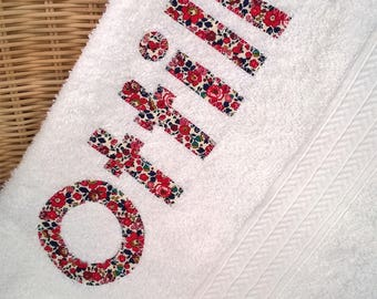 Personalised 100% cotton bath towel with Liberty of London Fabrics
