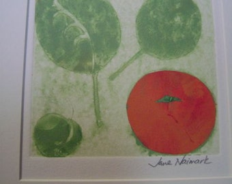 monotype print of a fruit