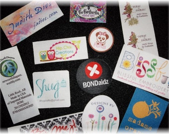 1000 Custom Printed Clothing Labels - SEW ON  - Sewing Tags - Digitally Printed - Unlimited Colors - No Fray -  FREE Die Cutting