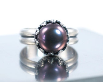 Black Pearl Ring, Made to Order, Dark Pearl Ring, Large Pearl Ring, June Birthstone Ring, Sterling Silver, Pearl Cocktail Ring