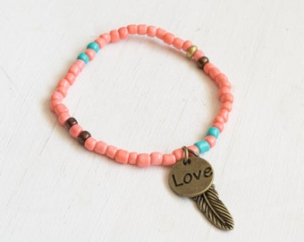 Beaded Stretchy Bohemian Bracelet - Coral or Teal with Feather and Heart Charm