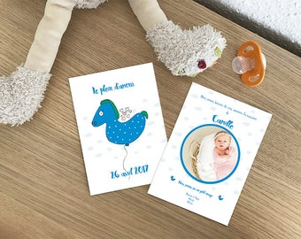 Birth announcement card with illustration of a balloon/pony - to customize together , to print yourself