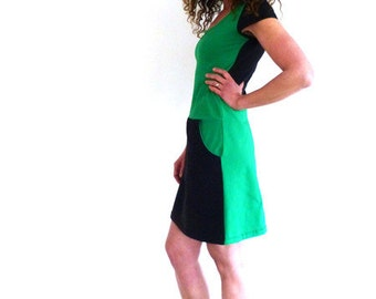 Dress with pockets, short sleeve, green and black