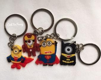 Minions, Minion Keychains , Superheroes , Batman, Superman, Ironman