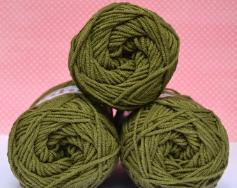 Kacenka - soft cotton/acrylic yarn for crochet and knitting, Green color, No. 6954, 1 ball/50 g, Producer NCT