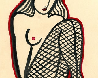 The Photo Shoot-Fishnet Stockings, Sexy Portrait, Ink on Paper, Archival print