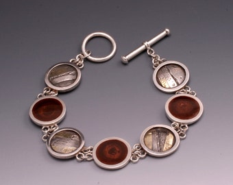 Sterling Silver, 18k Gold and Resin Bracelet