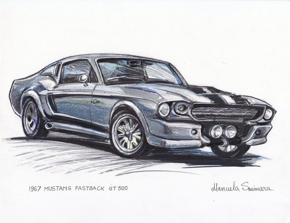 1967 Ford Mustang Fastback Eleanor Illustration Classic Car