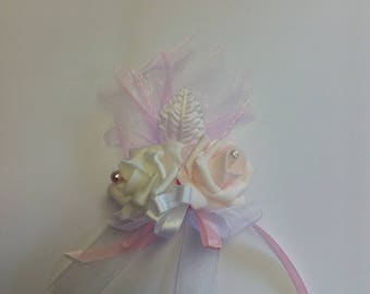 White and pink flower wedding boutonniere