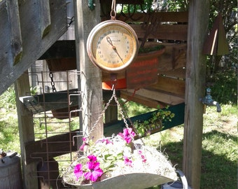 Antique Produce Mercantile Scale Made Into Hanging Planter or Use For Anything You Choose