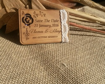 Lace save the date magnet (25), wood save the date card , rustic save the date magnets , personalized save the date card , flower save date