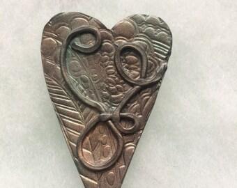 Rustic Heart Brooch Pin