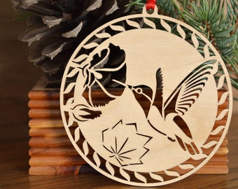 Hummingbird with Hollyhock flower ornament Wood-cut hummingbird decoration