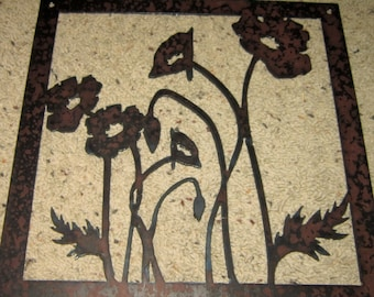 Poppies-metal art-custom order-flowers-nature-pretty