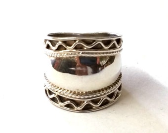 Modern Wide Band Sterling Silver Ring