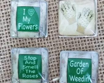 Garden Of Weedin Magnets - Gardening Magnets - Refrigerator Magnets - Gardening Gloves Magnet - Glass Magnets