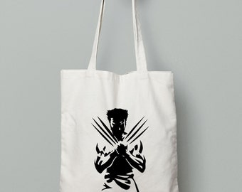 Wolverine Tote Bag - Shopping Tote Bag - Canvas Tote Bag - Printed Tote Bag - Cotton Tote Bag - Large Canvas Tote - Library Bag - Book Bag