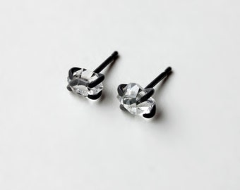 XX - Herkimer Diamanten oxidiertem Silber Ohrringe - natürlichen Herkimer Diamanten oxidiert Sterling Silber Ohrstecker