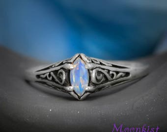 Rainbow Moonstone Marquise Engagement Ring, Marquise Silver Filigree Ring, Silver Vintage Style Engagement Ring, Marquise Wedding Ring