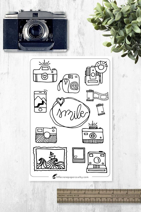 Bullet Journal Stickers Camera Doodles Planner Stickers