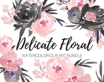 Watercolor flower clip art - flower clip art - Pink flower clip art - Black Roses - Floral clip art - Commercial Use