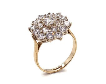 Vintage Gold Cluster Ring, Cubic Zirconia Cluster, Womens Gold Rings, Cubic Zirconia Rings, Gold Cluster Ring, Women's Cubic Zirconia Rings