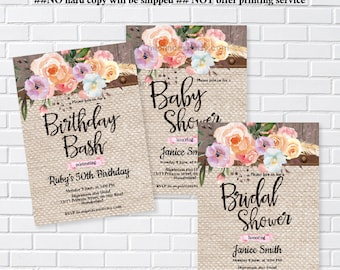 Party Invitations Design Printable Digital file by miprincess