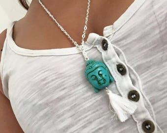 Bali Buddha turquoise 38cm silver necklace