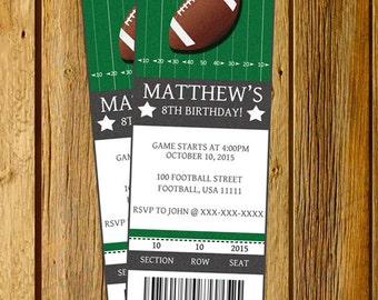 Football invitation, Football birthday invitation, Football party invitation, Football Ticket Birthday invitation. Printable JPEG 2.5x7