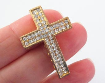 1 Cross Connector - Gold Cross Necklace Link - Sideways Cross Curver - Clear Rhinestone - Bracelet Necklace Component - DIY Baptism Jewelry