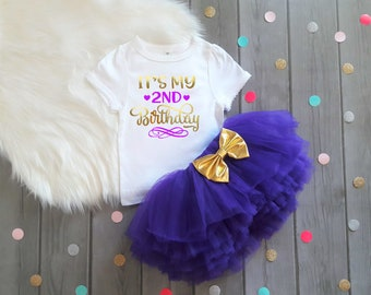 2nd Birthday Outfit Girl Purple And Gold 2nd Birthday Outfit 2nd Birthday Tutu Set 2nd Birthday Outfit Second Birthday Shirt Girl