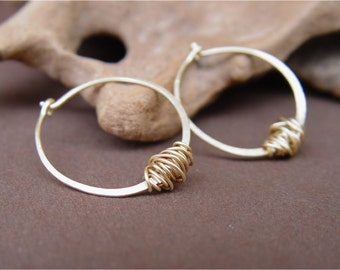 Wire Wrapped Gold Hoops, Hammered Gold Hoop Earrings, Handmade Gold Hoop