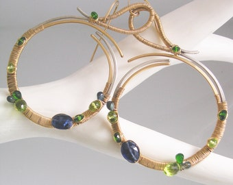 Large Mixed Metal Gemstone Hoops, Kyanite Peridot Gold Silver Sculptural Earrings, Modern Minimalist, Artisan Designed