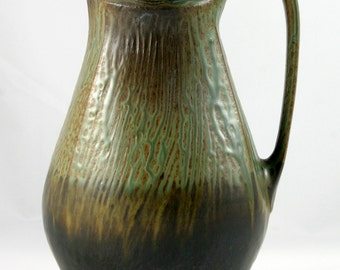 Handmade Stoneware Pitcher, Wheel Thrown and Altered, Green, Gold, and Black