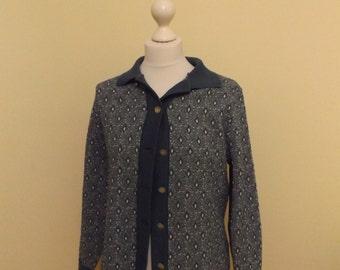 vintage 60s patterned blue mod cardigan crimplene 12 14 medium