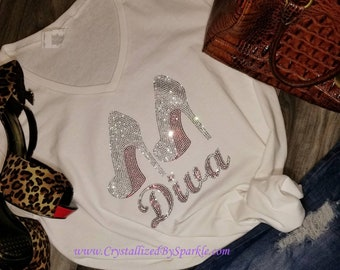 Red Bottom Diva  Crystallized Bling Bling Rhinestone Tee