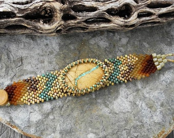 Free Form Peyote Stitch Beaded Bracelet Cuff - Listen - Beaded Royston Boulder Ribbon Turquoise Cabochon  - Bead Weaving - BOHO