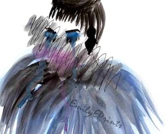 Crying Glamour Girl Print