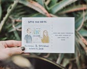 Custom Illustrated and Whimsical Save The Dates
