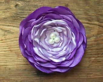 Purple Ombre Flower Hair Clip.Purple Ombre Brooch.Violet & Lavender.Lilac.Ombre Flower Hair Piece.Ombre Headpiece.ombre Hair Accessory