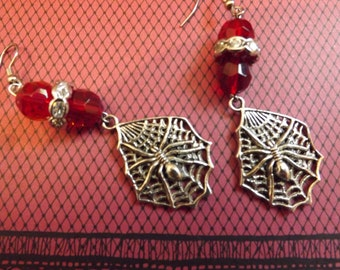 Spider In Web With Red Glass Bead Earrings