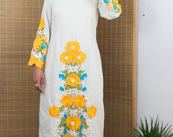1970's Embroidered Bell Sleeve Maxi Dress