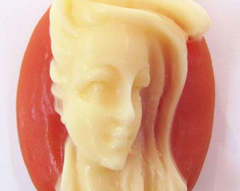1 Windblown Hair Lady Oval Carnelian with Off White Resin Cameo Cabochon 40X30 mm