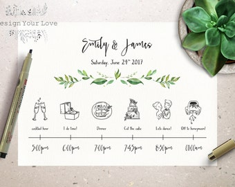 wedding timeline printable wedding itinerary template green weekend itinerary destination wedding invitation icon timeline greenery wedding