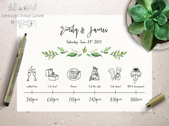 Wedding Timeline Printable Wedding Itinerary Template Green - Wedding invitation templates: vietnamese wedding invitation template