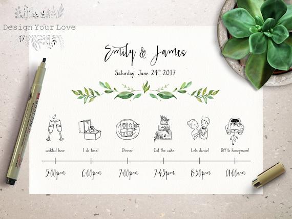 Wedding Timeline Printable Wedding Itinerary Template Green - Wedding invitation templates: free wedding itinerary template