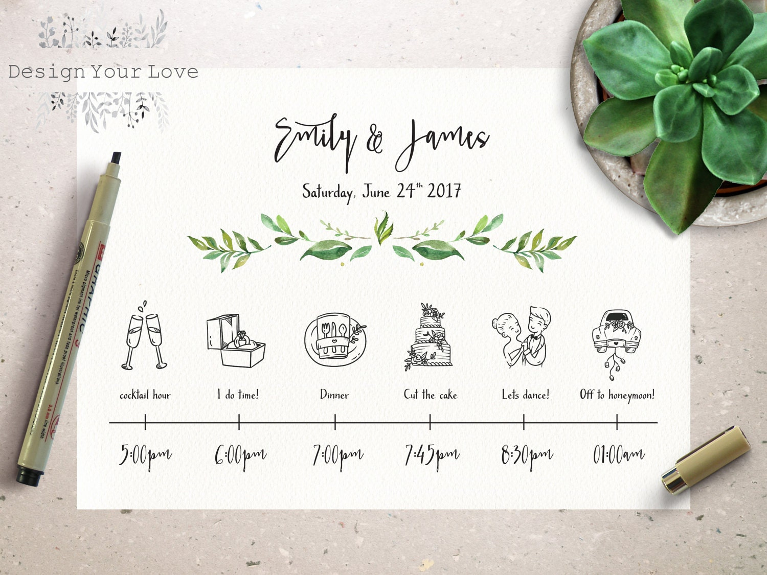 Wedding Timeline Printable Wedding Itinerary Template Green - Wedding timeline template free