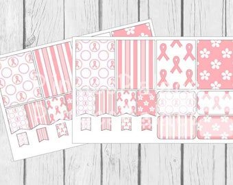 Breast Cancer Awareness Planner Stickers Full Box Half Box Flags Life Planner Stickers eclp fits Erin Condren - 16 stickers PS97