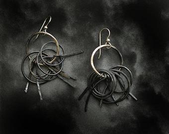Sterling Silver Gatekeeper Earrings Edgy Art Fringe Handmade Jewelry, Statement Earrings Jewelry, Unique Gift, Dark Black Silver Earrings