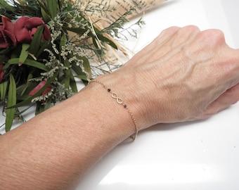Infinity Bracelet With Black Diamonds, 14K Gold Infinity Bracelet, Wire Wrapped Diamonds,6-8.5 Inches, Infinty Jewelry, Keira's Crystal